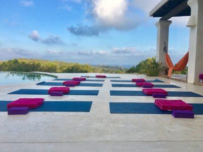 Yoga Mats Pool Set Up